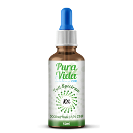 Pura Vida Edible CBD Oil Tincture 10% CBD 50ml 5,000mg 100% Organic