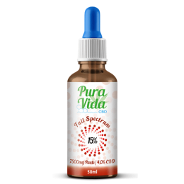Pura Vida Edible CBD Oil Tincture 15% CBD 50ml 7,500mg 100% Organic